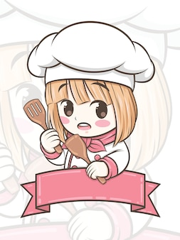 주걱 만화 캐릭터를 들고 귀여운 요리사 소녀