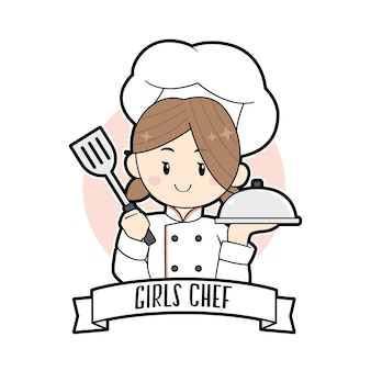 Милая девушка шеф-повара держит шпатель мультяшный логотип