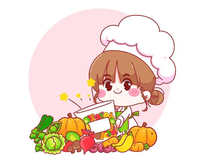 Ragazza carina chef che tiene in mano un'illustrazione di arte del fumetto del carattere del logo del cibo sano vegetale