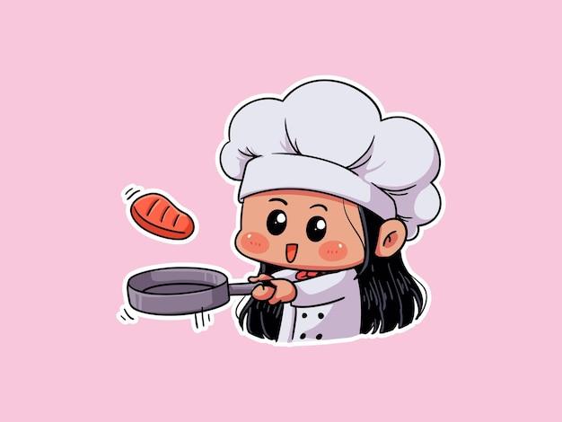 귀여운 요리사 소녀 휴식 쿠키를 먹고 책을 읽고 만화 그림