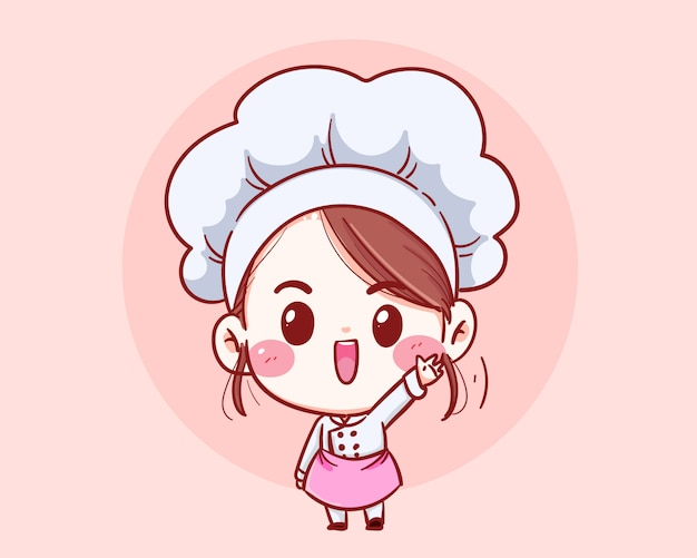 Cute chef girl smiling cartoon art illustration.