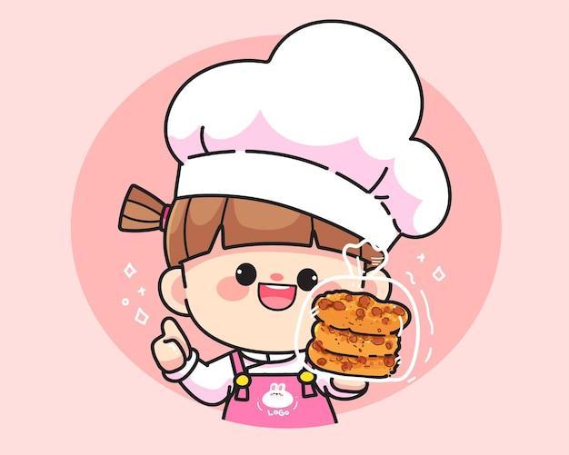 かわいいシェフの女の子がクッキーのロゴを持って笑っている手描き漫画アートイラスト