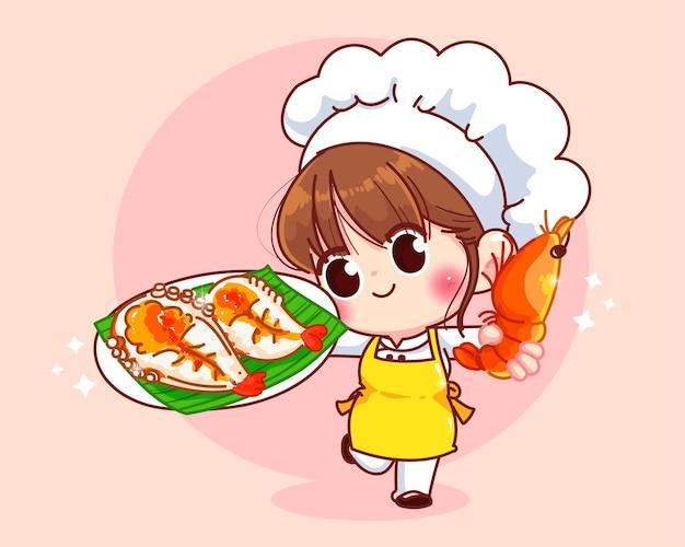 Милая девушка шеф-повара улыбается в униформе, держа в руках креветки на гриле, меню из морепродуктов, мультяшное искусство иллюстрации