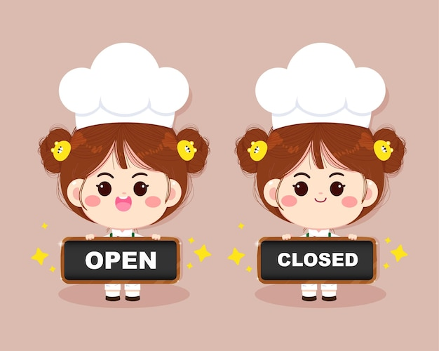 Cute chef girl smiling in uniform holding sign open and close cartoon art illustration