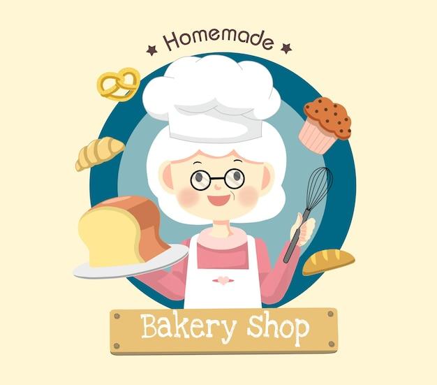 귀여운 요리사 할머니 베이커 로고