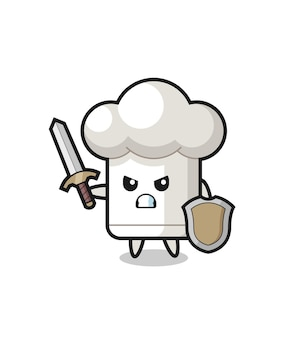 Cute chef hat soldier fighting with sword and shield , cute style design for t shirt, sticker, logo element