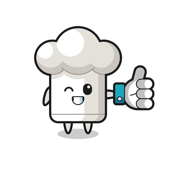 소셜 미디어 엄지손가락 기호가 있는 귀여운 요리사 모자, 티셔츠, 스티커, 로고 요소를 위한 귀여운 스타일 디자인