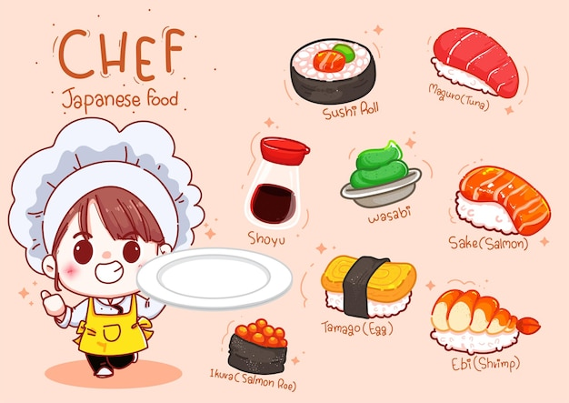 Cute chef hold plate with sushi, japanese food cartoon hand draw illustration
