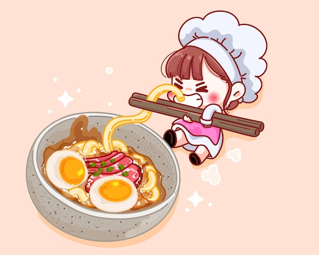 Cute chef holding chopsticks with noodles near the soup cartoon illustration