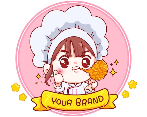 Cute chef holding fried chicken drumstick logo cartoon character illustration