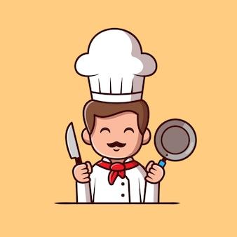 Симпатичный шеф-повар, держащий сковороду и нож, мультяшный значок llustration. концепция значок люди профессии изолированы. плоский мультяшном стиле