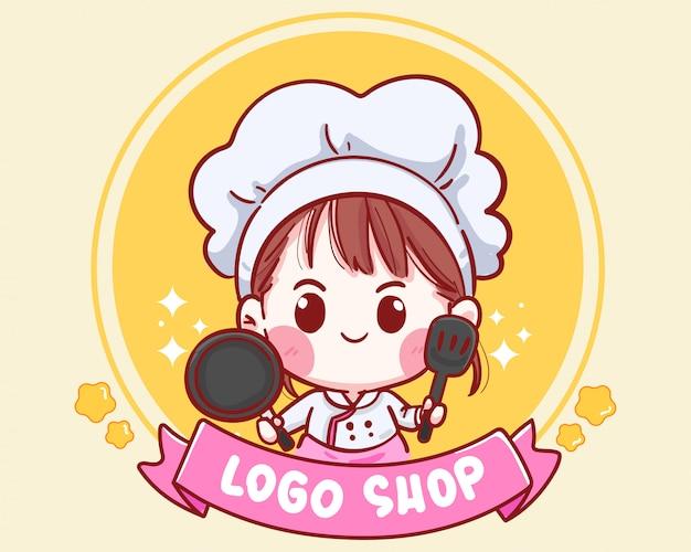 ショップのロゴの鍋とヘラを保持しているかわいいシェフ