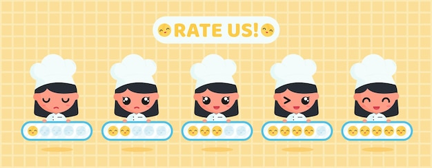 Cute chef holding smile rating board for customer satisfaction survey of  restaurant service