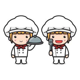 주걱과 접시 만화 아이콘을 들고 귀여운 요리사