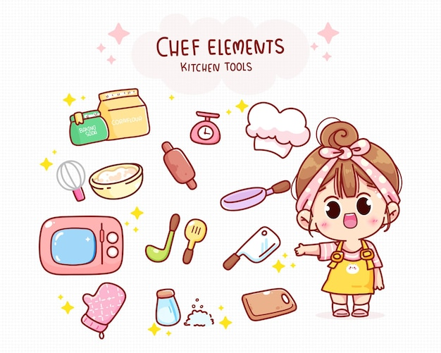 Cute chef and kitchen elements