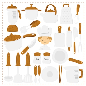 Cute chef and kitchen utensils, collection