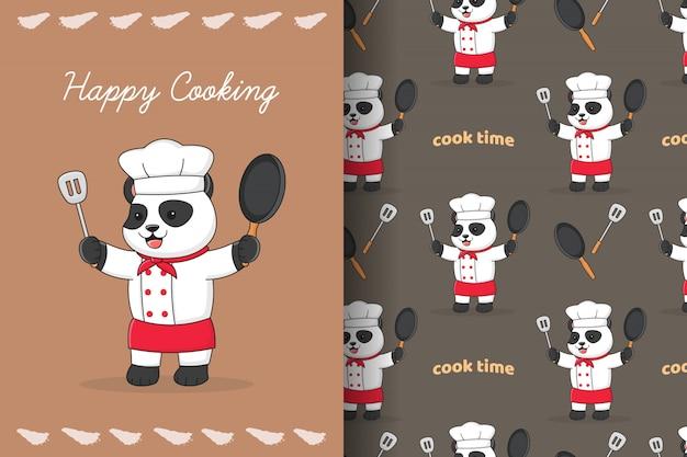Симпатичный шеф-повар панда готовит бесшовные модели и карты