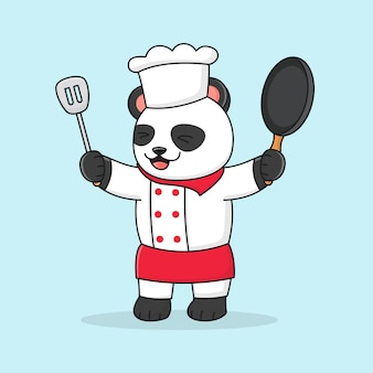 Cute chef panda holding spatula and wearing a hat