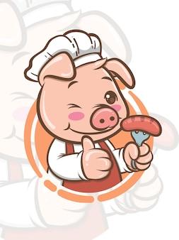 Милый повар свинья мультипликационный персонаж держит гриль колбасу - талисман и иллюстрации