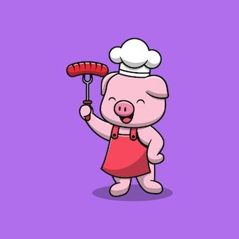 Милый повар свинья иллюстрации шаржа