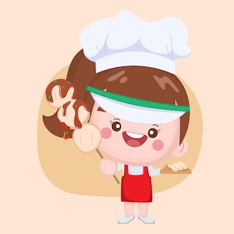 Cute chef presenting meatball grill with spicy sauce