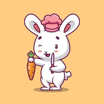ナイフとニンジンの漫画イラストを保持しているかわいいシェフのウサギ