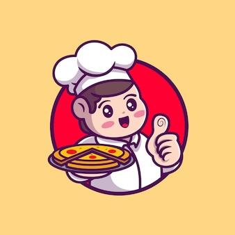 Cute chef serving pizza cartoon icon illustration.