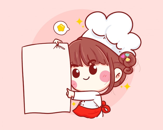 Cute chef smiling and holding a white paper