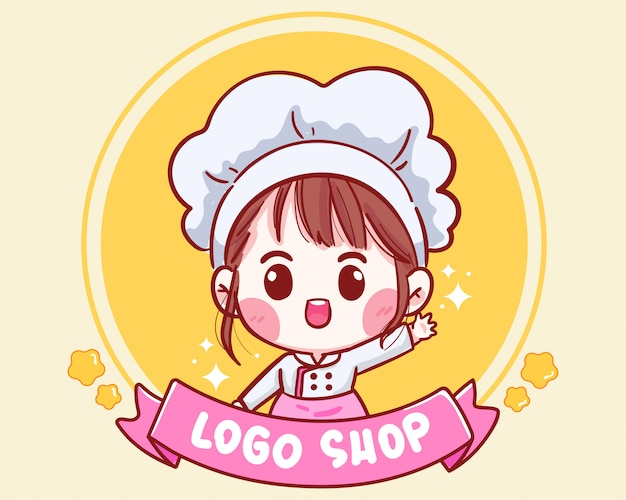 Cute chef smiling for shop logo