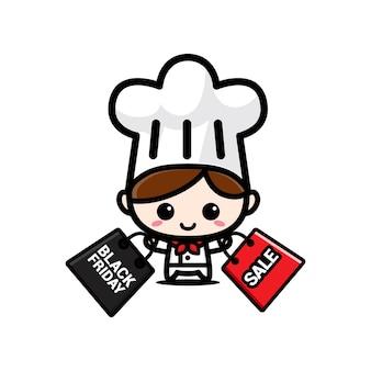 검은 금요일 쇼핑백과 귀여운 요리사