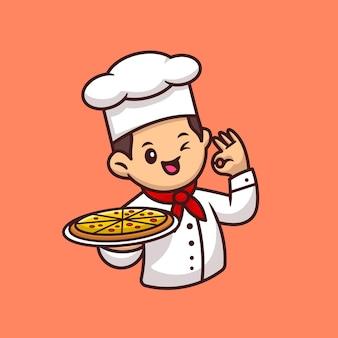 Милый шеф-повар с пиццей мультфильм значок иллюстрации. концепция значок пищи люди изолированы. плоский мультяшном стиле