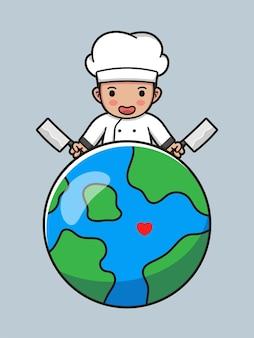 Милый повар с планетой земля