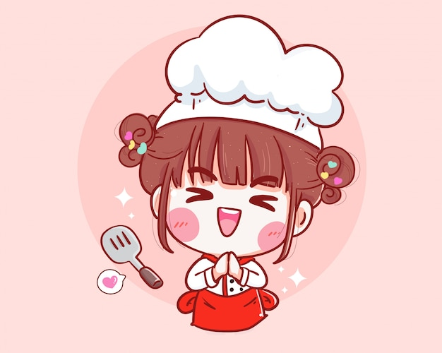 Cute chef with spatula