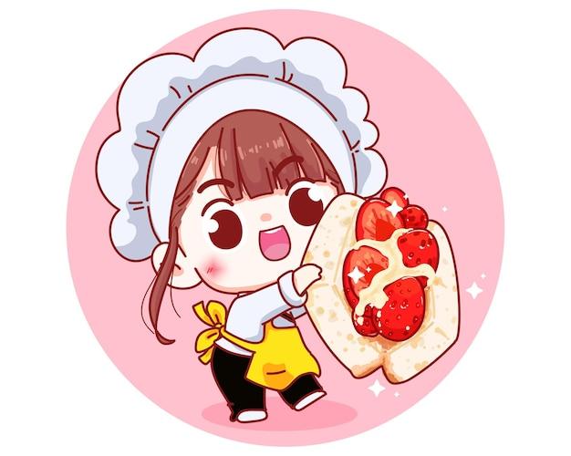 Cute chef with strawberry sandwich bread cartoon illustration