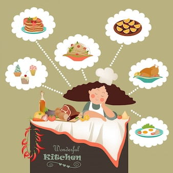 Cute chef woman dreaming illustration