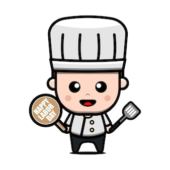 Cute chef worker character labour day concept illustration