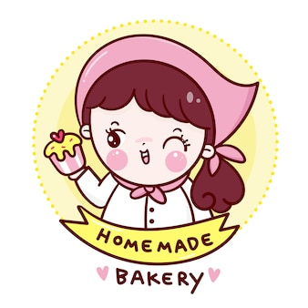 Cute cheft with cupcake homemade bakery