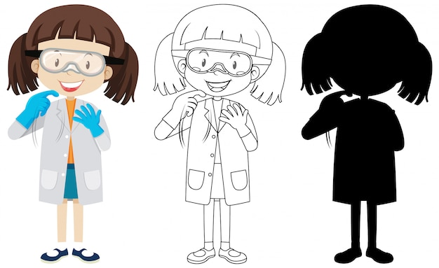 Cute chemist girl with its silhouette and outline