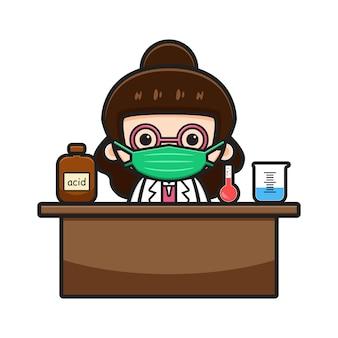 Cute chemist teacher do experiment cartoon vector icon illustration. design isolated on white. flat cartoon style.