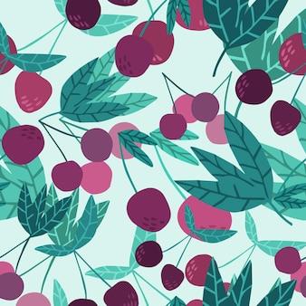 Симпатичные вишневые ягоды и листья бесшовные модели. летние фруктовые ягодные обои. рисованной вишни на зеленом фоне. дизайн для ткани, текстильный принт. векторная иллюстрация.