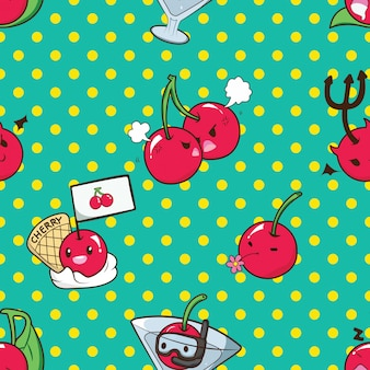 Cute cherry catoon character pattern.