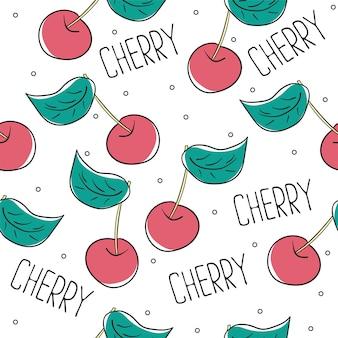 かわいい桜のシームレスなパターン。テキスタイル、ラッピング、壁紙に適しています。白い背景で隔離の甘い赤い熟したサクランボ。ベクトルイラスト。