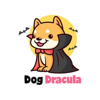 Симпатичный щенок чибы в костюме из дракулы