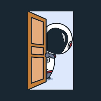 Cute chibi astronaut opens the door illustration