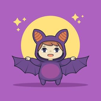 Cute chibi boy in bat costume character
