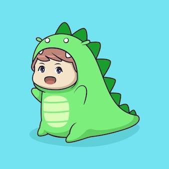 Cute chibi boy in dino costume illustration