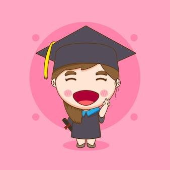 卒業式のガウンでかわいいちびキャラクターの女の子の学生