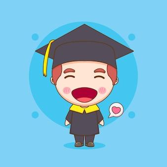 卒業式のガウンでかわいいちびキャラクターの学生の男の子