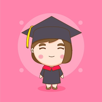 Cute chibi character student girl in graduation gown