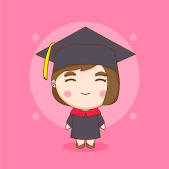 卒業式のガウンでかわいいちびキャラクターの学生の女の子